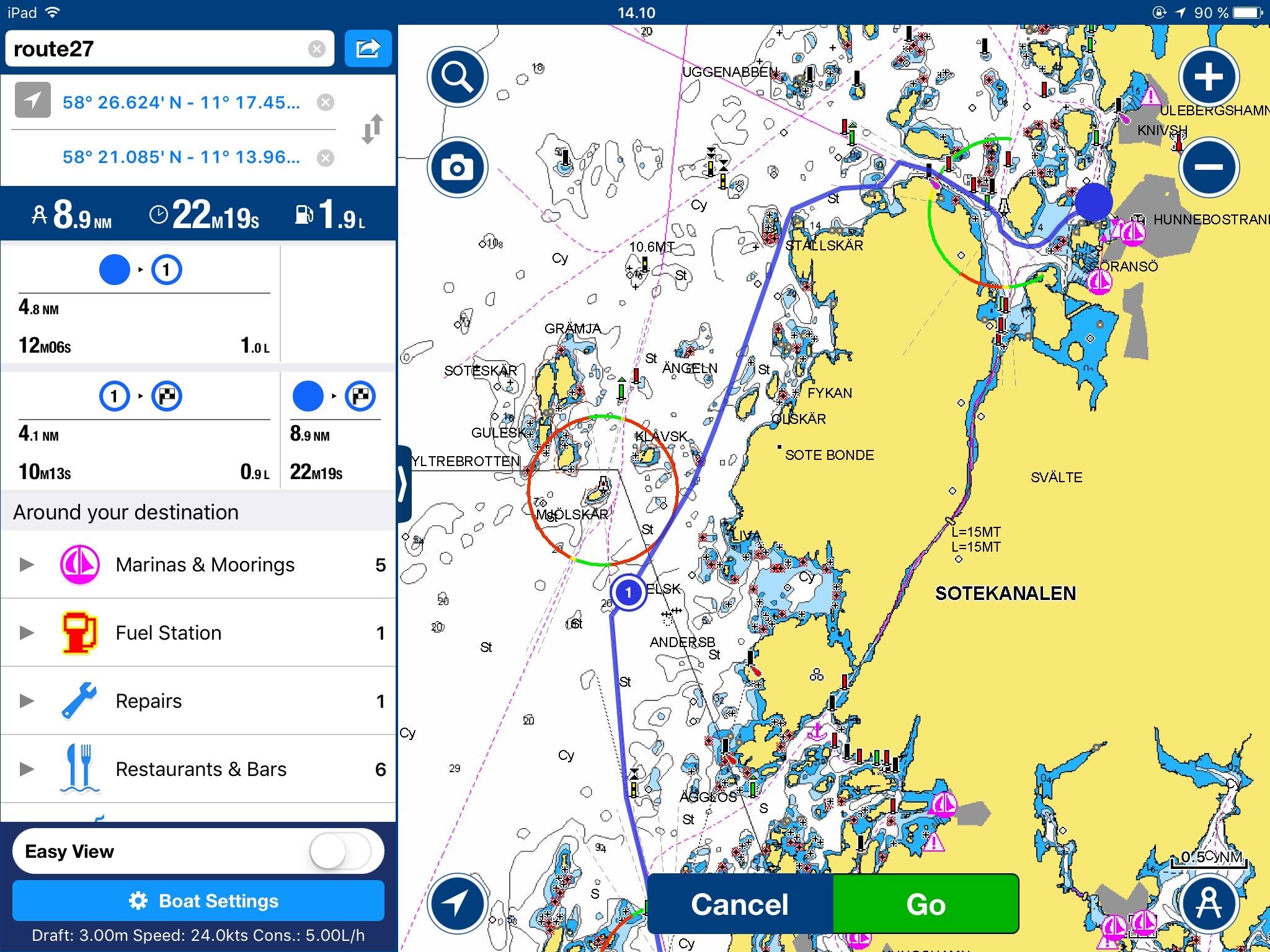 Automatiska rutter i Navionics app - Båtliv