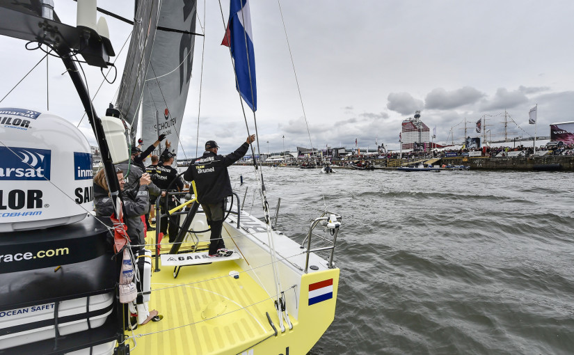 June 27, 2015. Inmarsat In-Port Race Gothenburg. Team Brunel arrives to the Race Village