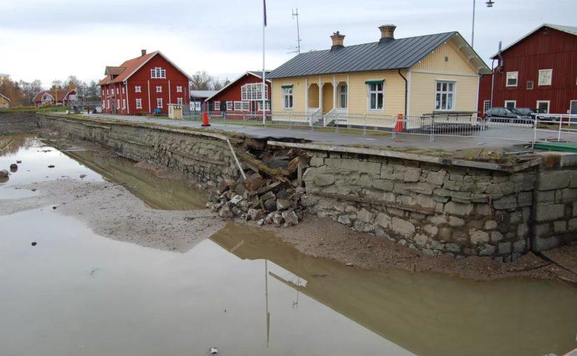 Kaj i Sjötorp vid Göta kanal renoveras efter ras