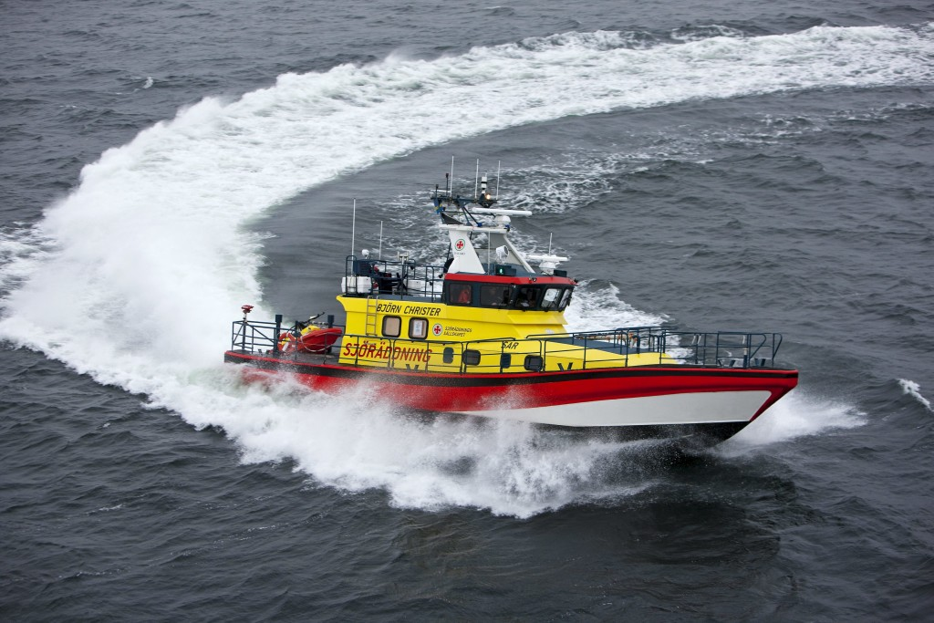"Sea rescue boat ""Björn Christer"" powered by two Scania V8 marine engines. Dalarö, Sweden. Photo: Dan Boman 2009"