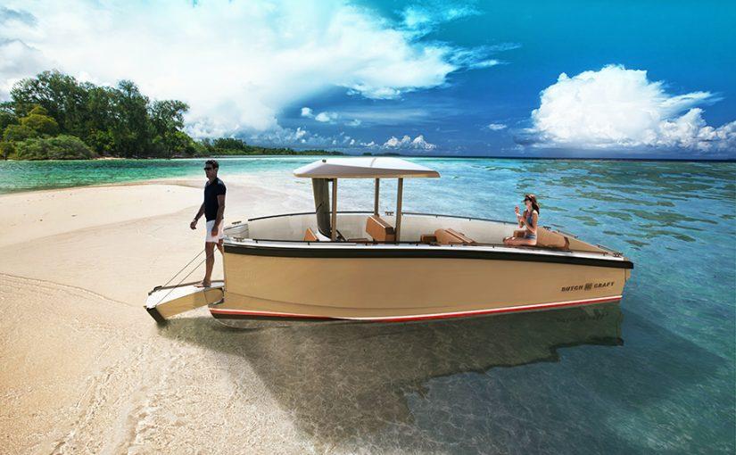Eldriven tenderbåt helt byggd i kolfiber