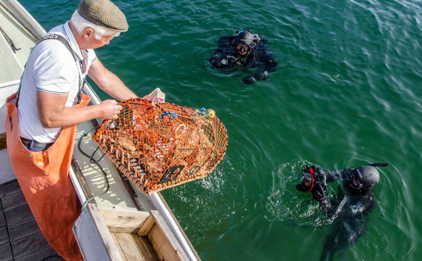 Dykare som rensar haven från spöknät fick Svenska Båtunionens Miljöpris